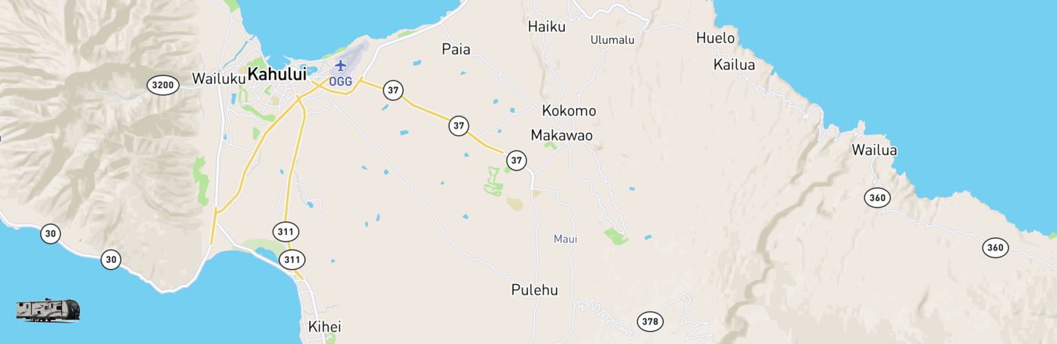 Travel Trailer Rentals Map Maui, HI