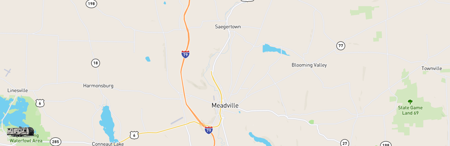 Travel Trailer Rentals Map Meadville, PA