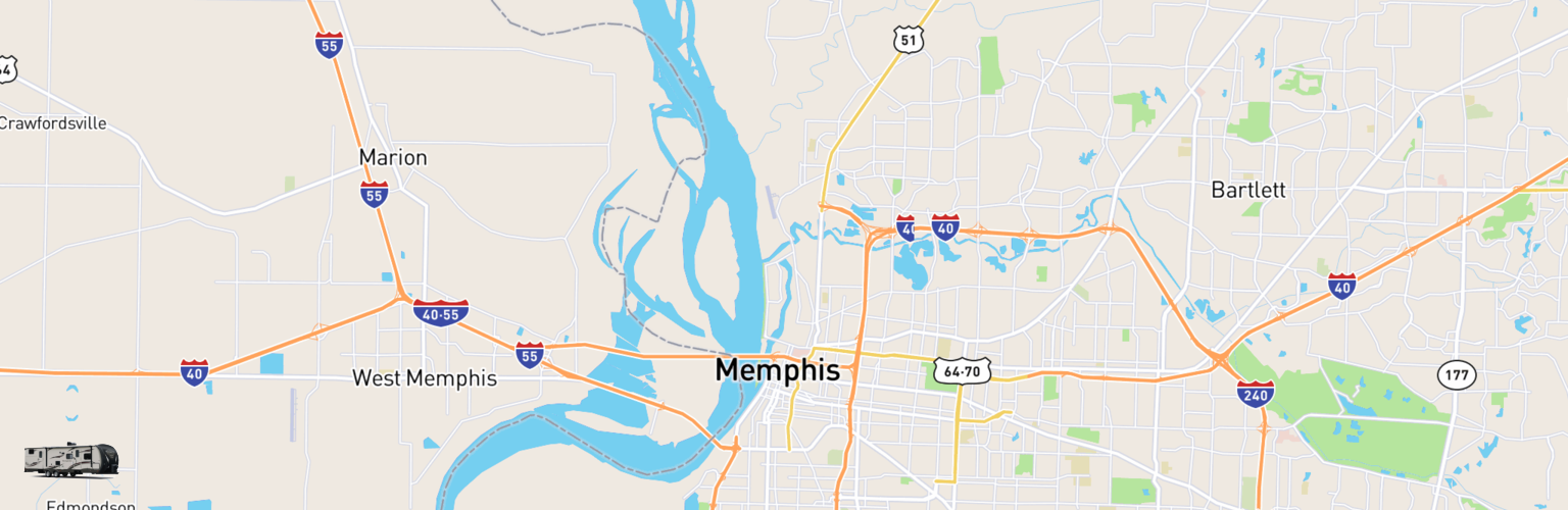 Travel Trailer Rentals Map Memphis, TN