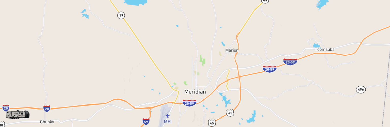 Travel Trailer Rentals Map Meridian, MS