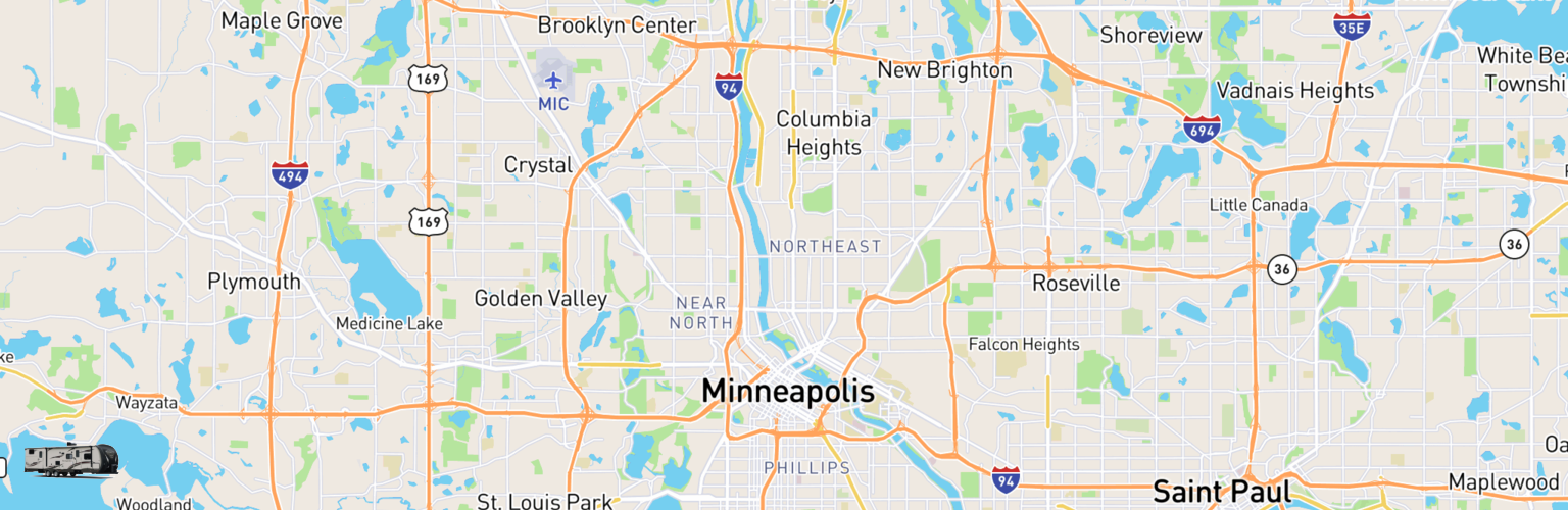 Travel Trailer Rentals Map Minneapolis, MN