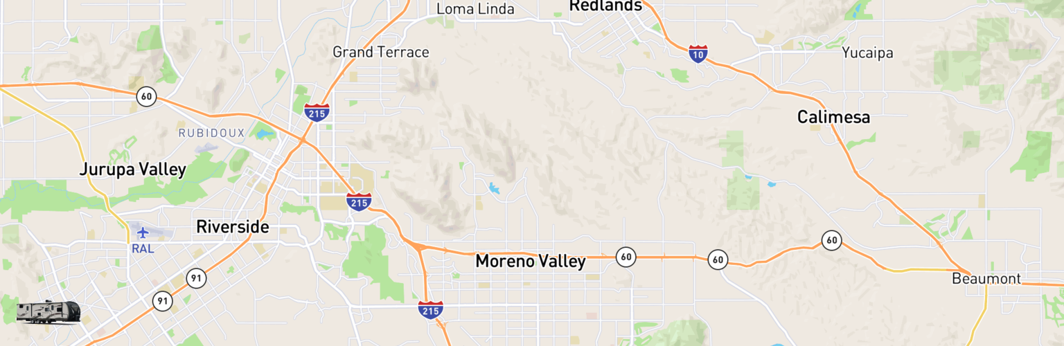 Travel Trailer Rentals Map Moreno Valley, CA