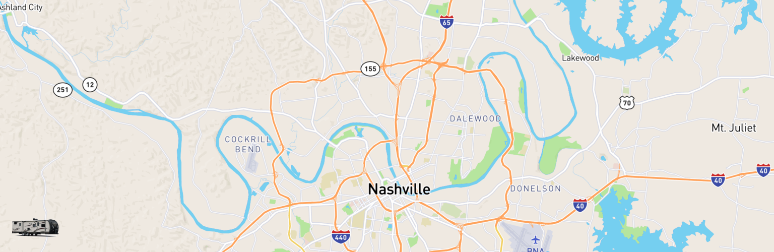 Travel Trailer Rentals Map Nashville, TN