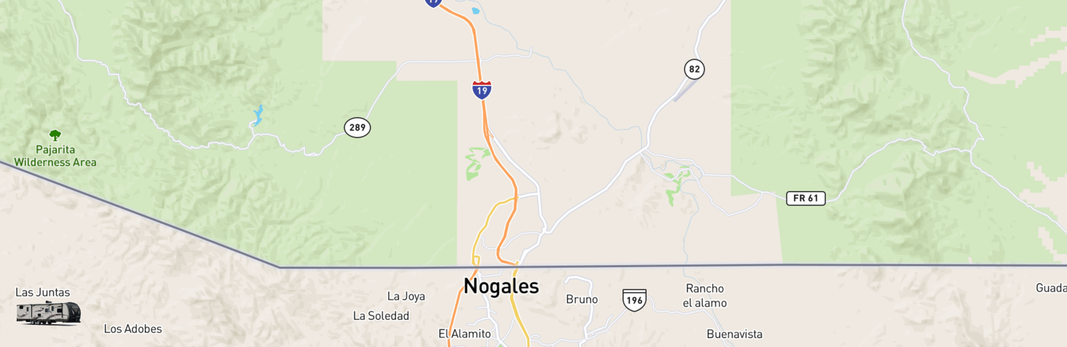 Travel Trailer Rentals Map Nogales, AZ