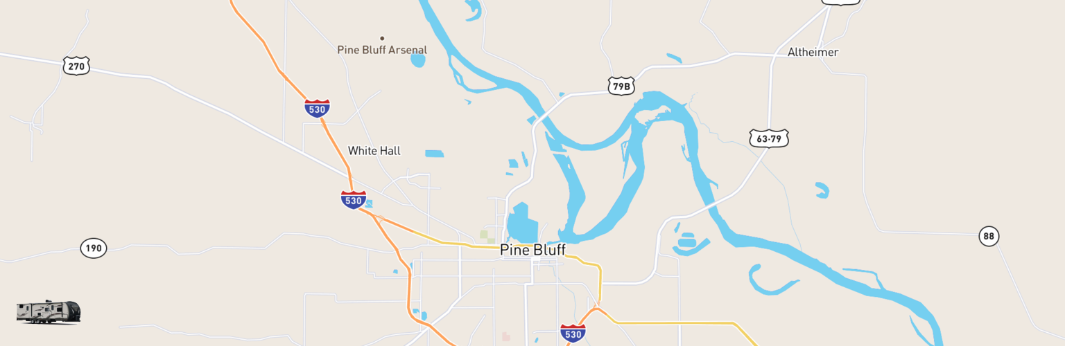 Travel Trailer Rentals Map Pine Bluff, AR
