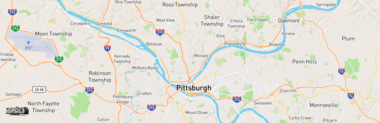 Travel Trailer Rentals Map Pittsburgh, PA