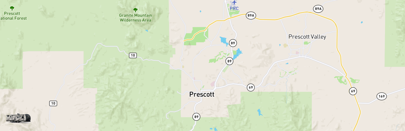 Travel Trailer Rentals Map Prescott, AZ