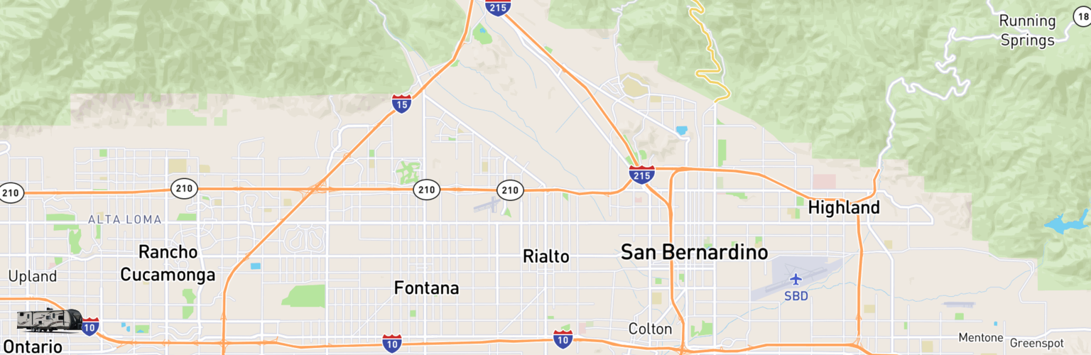 Travel Trailer Rentals Map Rialto, CA