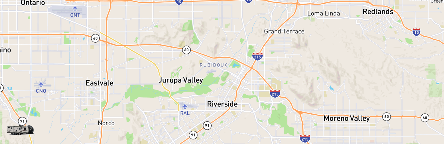Travel Trailer Rentals Map Riverside, CA