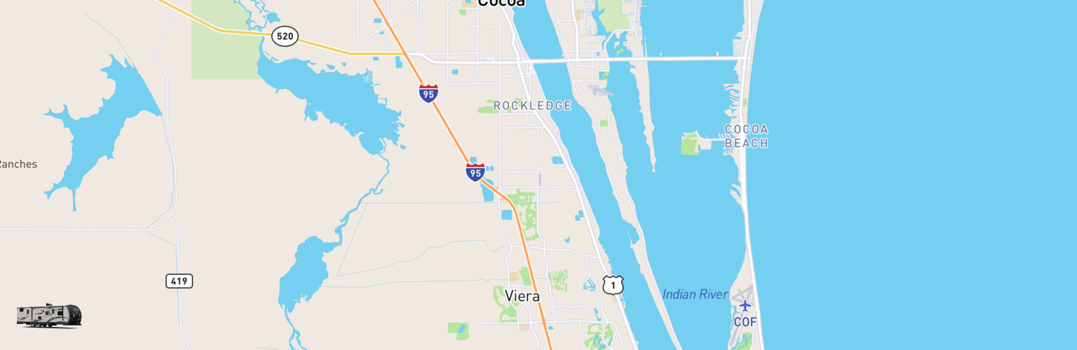 Travel Trailer Rentals Map Space Coast, FL
