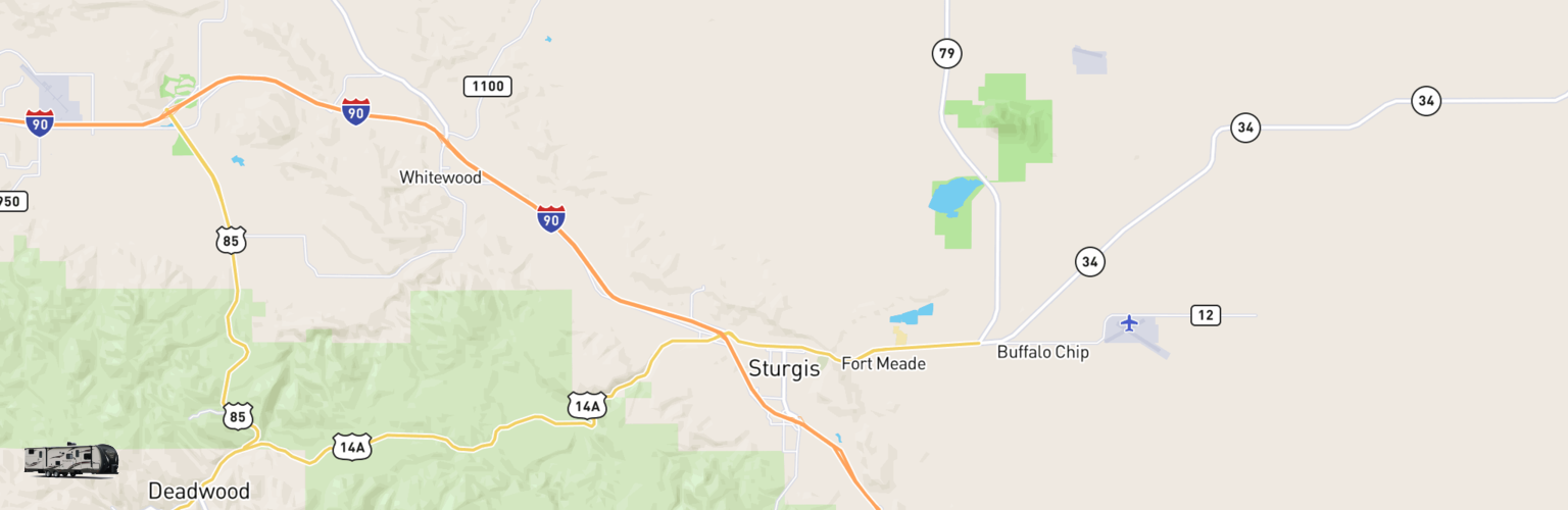 Travel Trailer Rentals Map Sturgis, SD