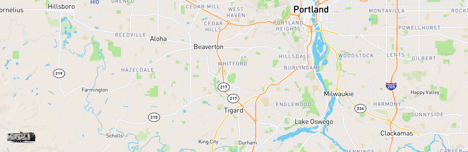Travel Trailer Rentals Map Tigard, OR