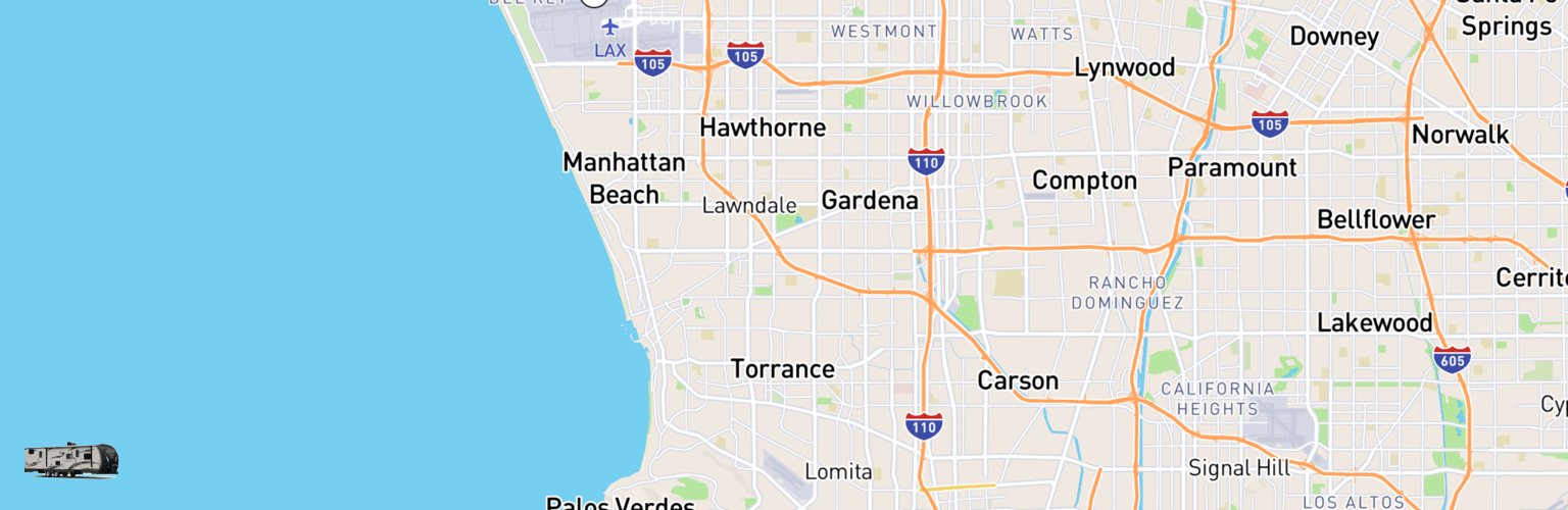 Travel Trailer Rentals Map Torrance, CA