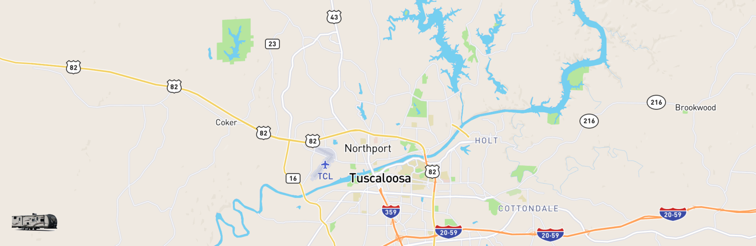 Travel Trailer Rentals Map Tuscaloosa, AL