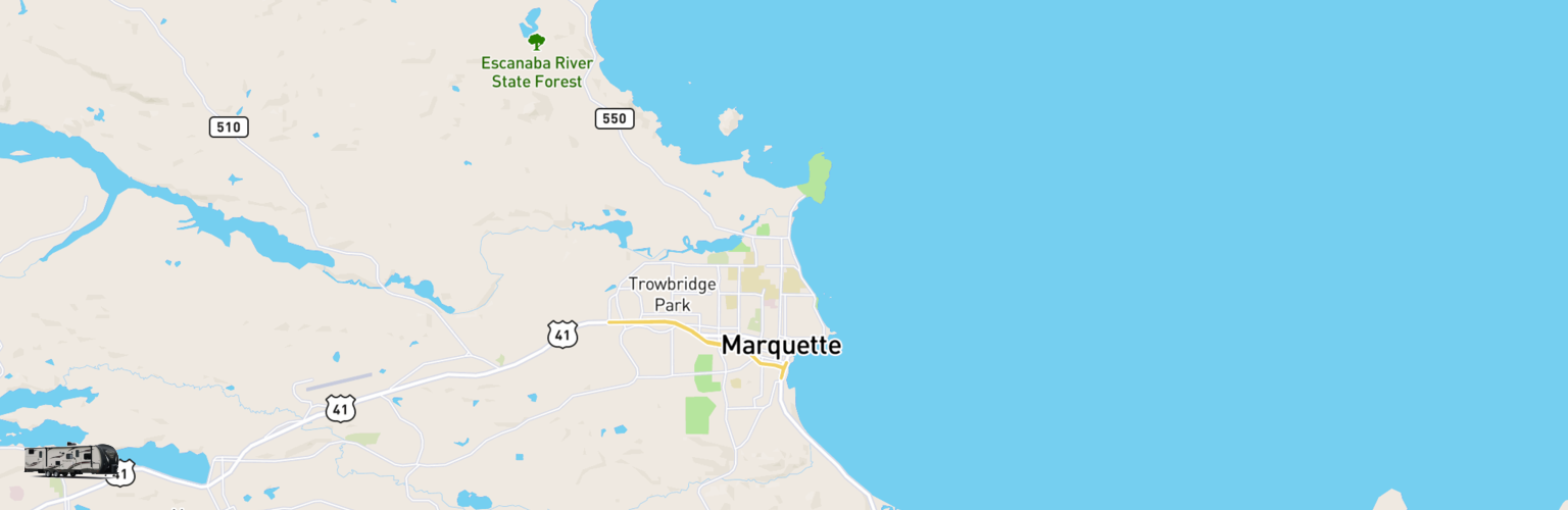 Travel Trailer Rentals Map Upper Peninsula, MI
