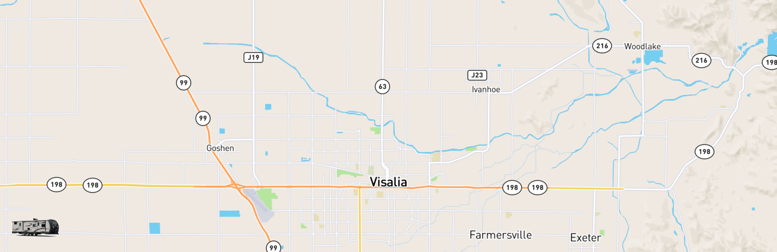 Travel Trailer Rentals Map Visalia, CA