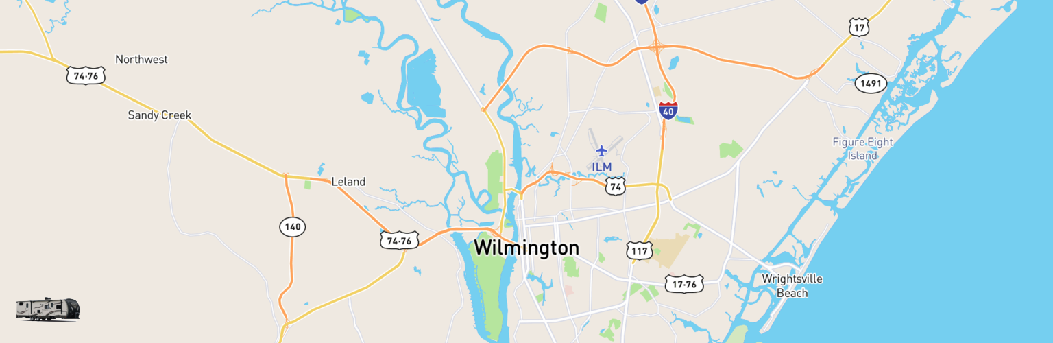 Travel Trailer Rentals Map Wilmington, NC