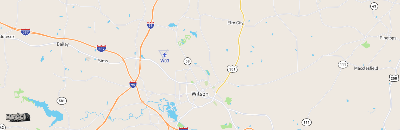 Travel Trailer Rentals Map Wilson, NC